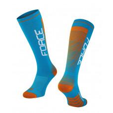 Čarape FORCE COMPRESS, plavo-narandžaste L-XL / 42-47