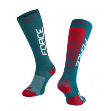 Čarape FORCE COMPRESS, benzin plavo-crveni S-M / 36-41
